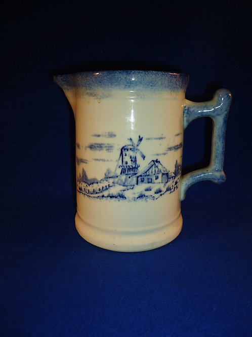 Blue and White Pitcher with Spongeware Trim and Dutch Scene, Canton China