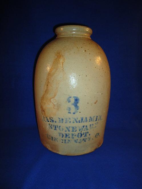 James Benjamin, Cincinnati, Stoneware 3 Gallon Snuff Jar