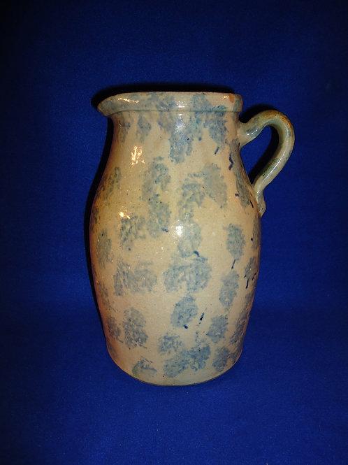 Circa 1880 Blue and White Stoneware Country Spongeware Pitcher