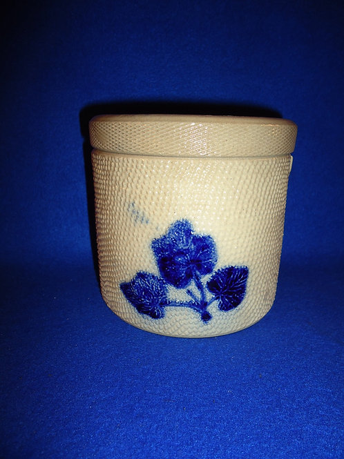 Whites of Utica Stoneware Canister with Embossed Leaves
