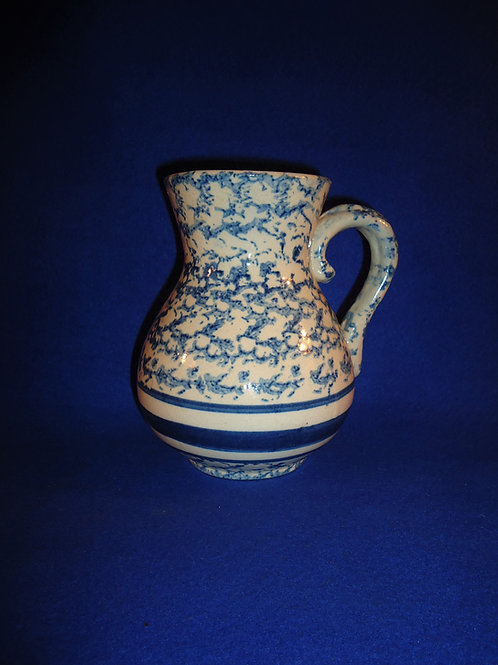 Blue and White Spongeware Stoneware Hot Water Pitcher, #4966