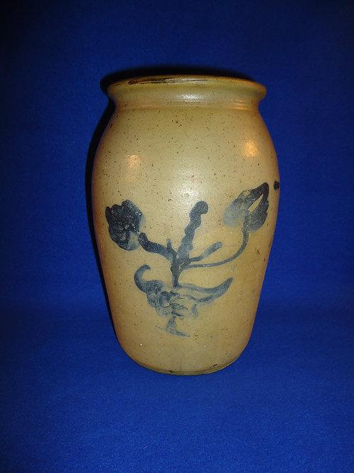 Circa 1880 Stoneware 1 Gallon Jar with Double Floral, att. Ohio