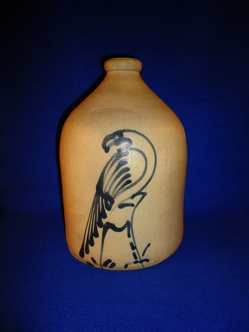 Whites of Utica Stoneware 1 Gallon Jug with Parrot on a Stump