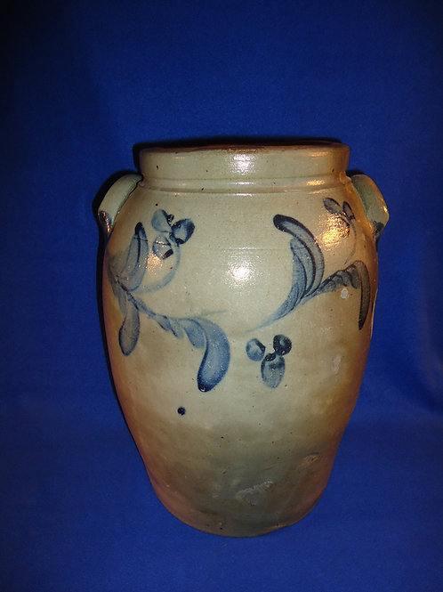 Circa 1850 Stoneware 4 Gallon Jar with Floral Garland from Baltimore, Maryland