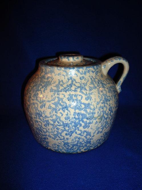 Uhl Stoneware Spongeware Bean Pot with Lid