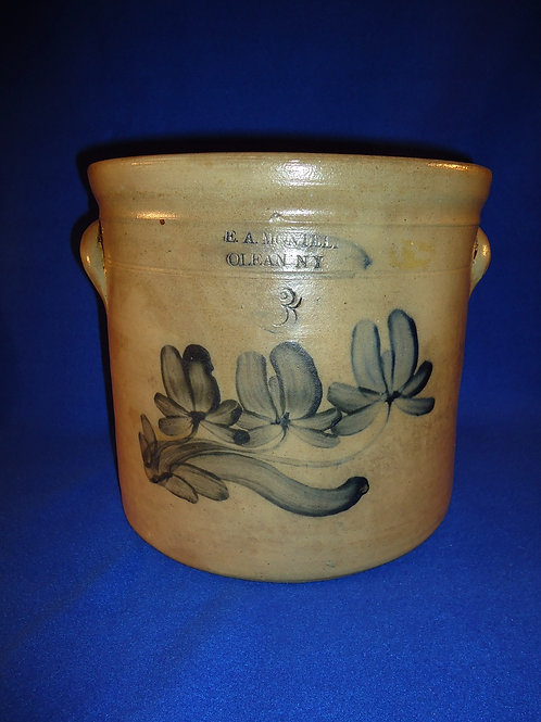 E. A. Mantell, Olean, New York Stoneware 3g Crock with Three Tulips