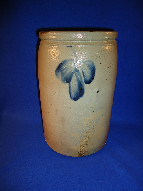 Circa 1870 1 1/2 Gallon Stoneware Jar with Clovers from Baltimore, Maryland