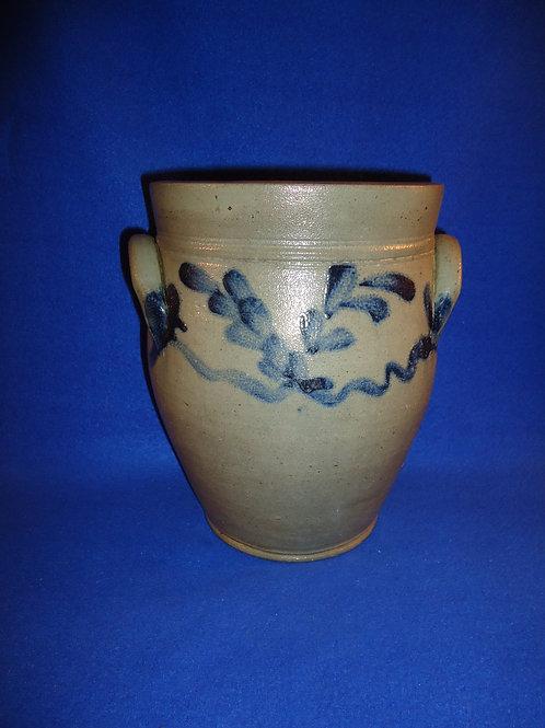 Circa 1840 Stoneware Ovoid Jar with Garland, att. to Philadelphia