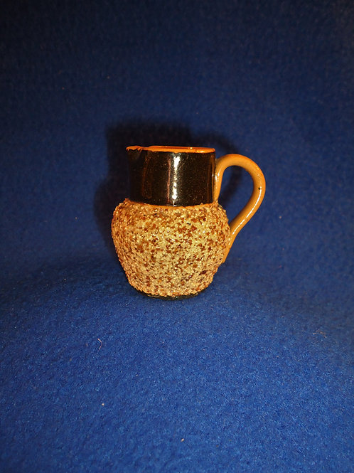 """19th Century Miniature 2"""" Yellow Ware Pitcher with Sand Banding"""