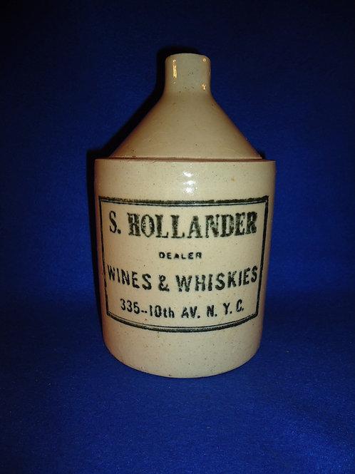 Hollander Wines & Whiskies, New York City Stoneware 1/2 Jug, Robinson Clay