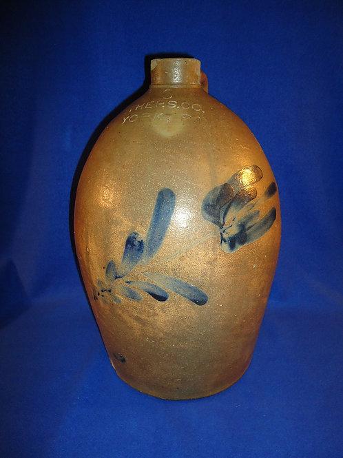Pfaltzgraff, York, Pennsylvania Stoneware 3 Gallon Jug with Large Flower