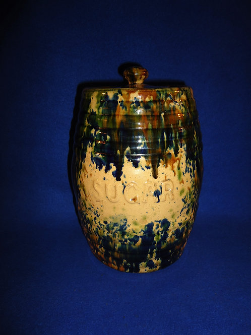Yellow Ware Sugar Canister, Rosslyn Pottery, Scotland #5696