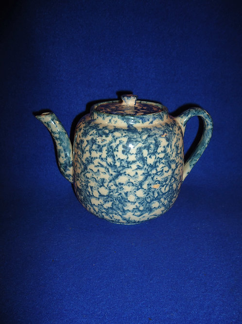 Blue and White Spongeware Stoneware Teapot, #4896