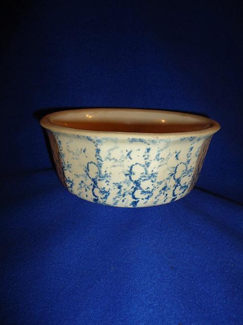 Circa 1900 Blue and White Spongeware Stoneware 12-Sided Bowl #5137