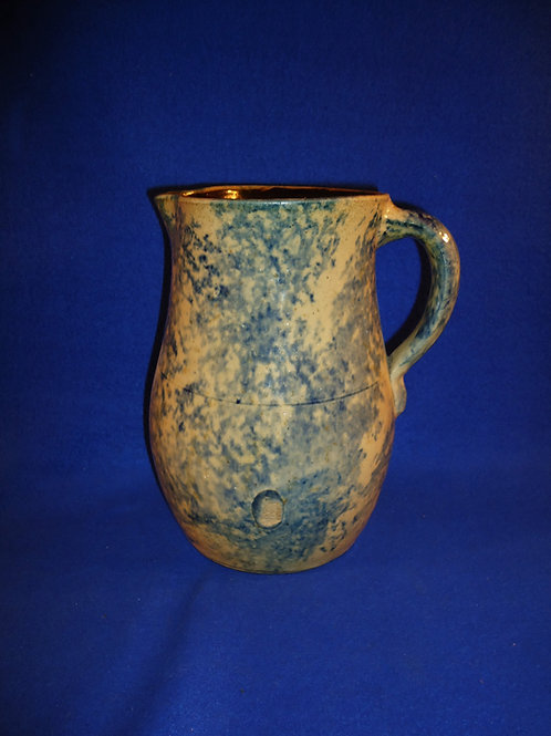 Circa 1860 Blue and White Spongeware Stoneware Pitcher from Ohio #5119