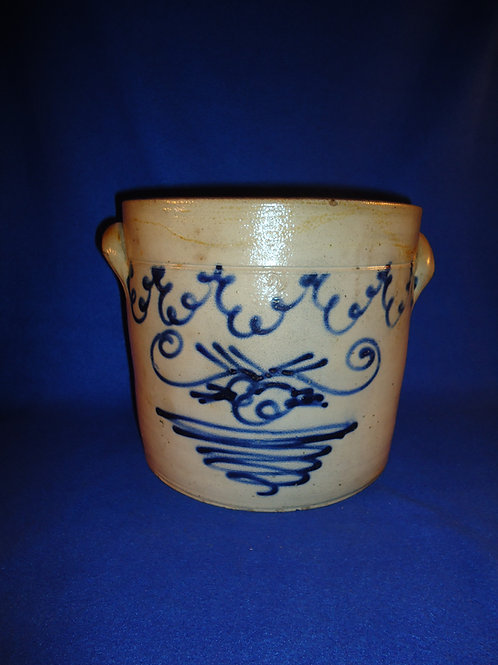 2g Crock with Folky Decoration attributed to Smith & Day of Norwalk, Connecticut