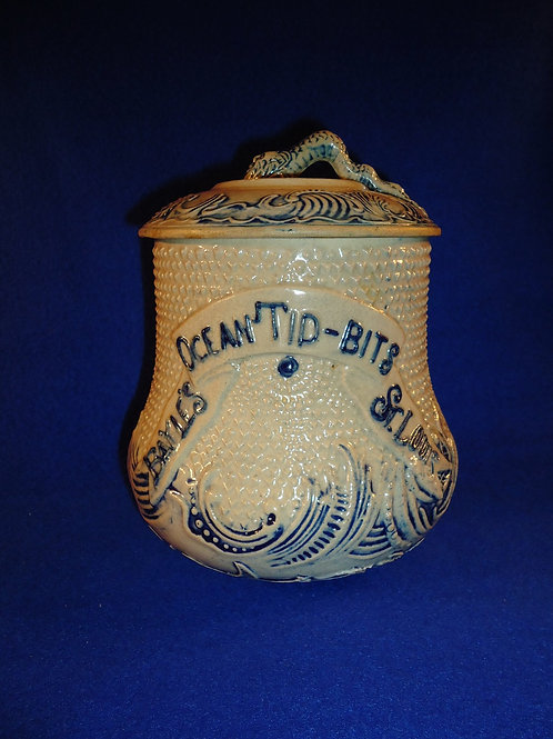 Bayle's Ocean Tid-Bits, St. Louis, Missouri Stoneware Jar by Whites of Utica
