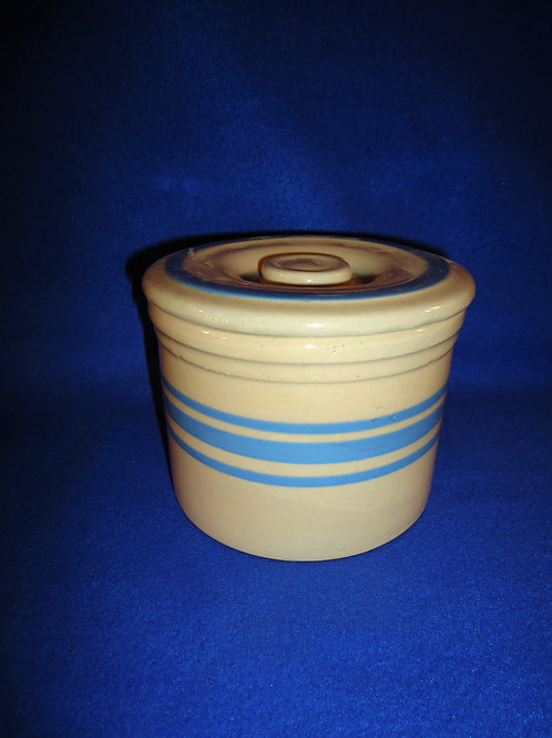 Blue and Cream Yellow Ware Striped Butter Crock with Original Lid
