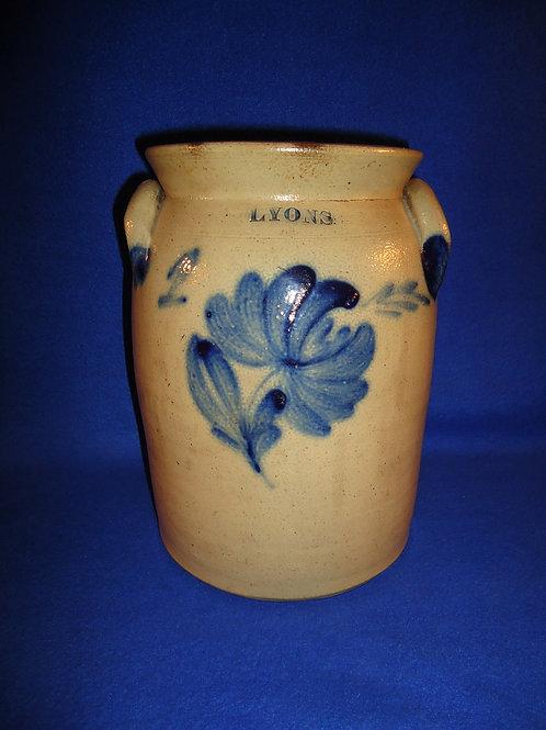 1 Gallon Lyons Stoneware Jar with Chrysanthemum, att. Harrington #5685
