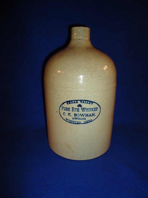 Bowman, Cedar Valley Pure Rye Whiskey, Wooster, Ohio Stoneware Jug #4883