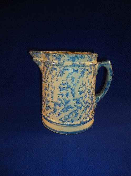 Circa 1900 Blue and White Spongeware Stoneware Hallboy Pitcher