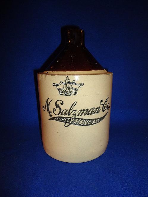 M. Salzman, 1/2 Gal. Stoneware Bleach Jug by Robinson Clay of Akron