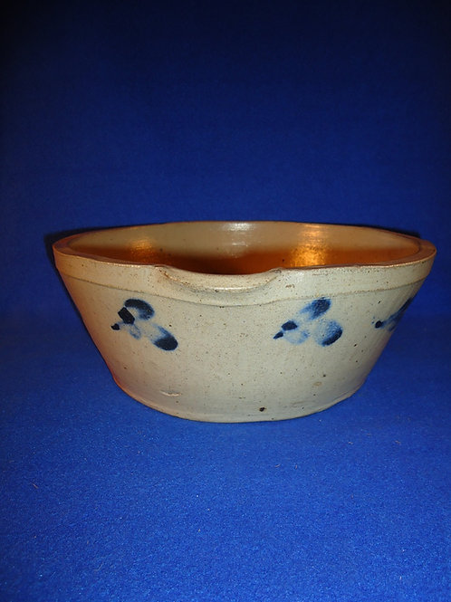 Circa 1870 2 Gallon Stoneware Milk Bowl with Clovers from Baltimore, Maryland