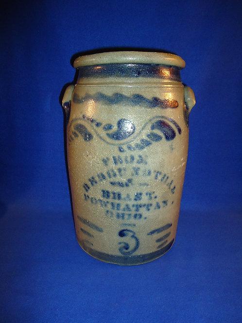 Bergendthal & Brast, Powhatan, Ohio Stoneware 3 Gallon Jar, #4816