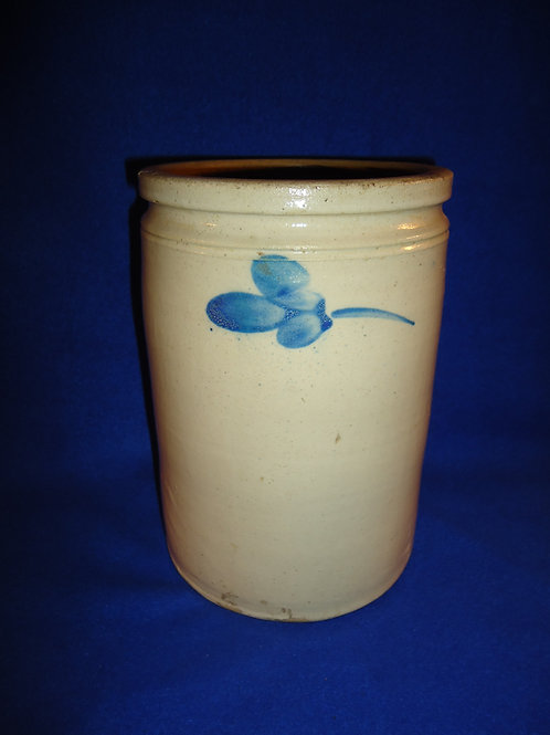 Circa 1890 Stoneware 1 Gallon Jar with Clovers from Maryland