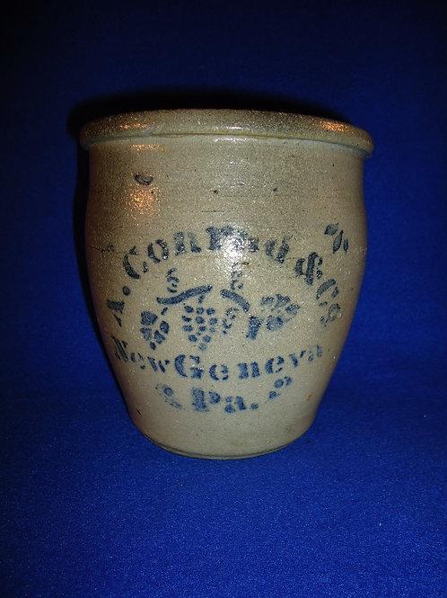 "A. Conrad, New Geneva, Pennsylvania Stoneware 6"" Ovoid Jar with Grapes"