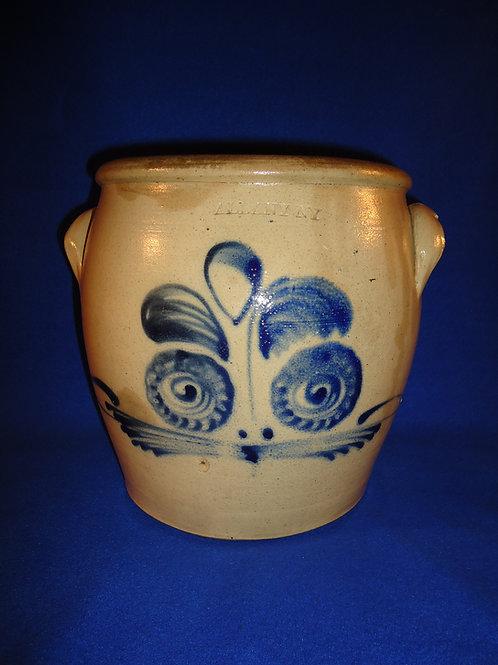 "2 Gallon Stoneware Cream Pot marked ""Albany,"" att. Orcutt Pottery"