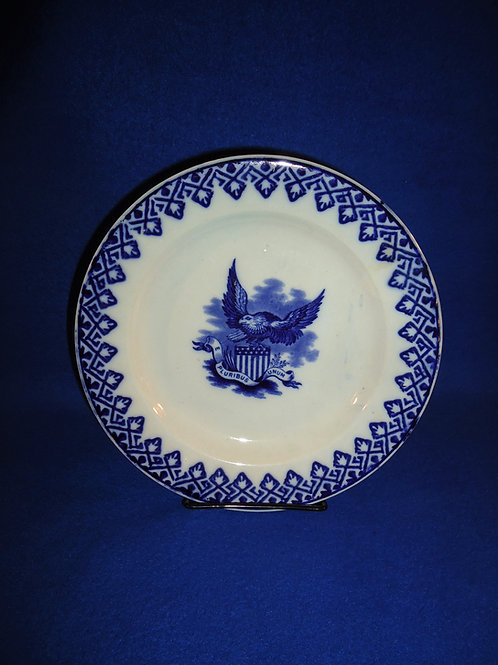 R. Hammersley Blue and White Stick Spatter Plate with Eagle Transfer #5362
