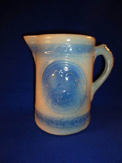 Blue and White Stoneware Lovebirds Pitcher