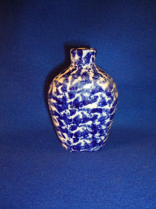 Blue and White Stoneware Spongeware Bottle from Bavaria