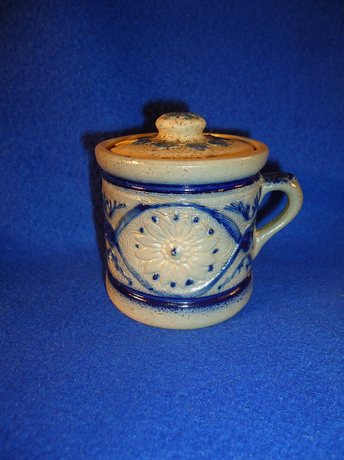 Whites of Utica Stoneware Mustard Pot with Lid