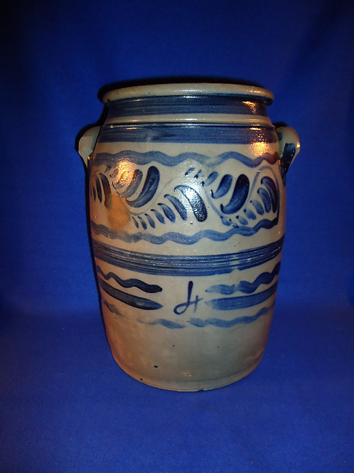 Circa 1870 4 Gallon Stoneware Jar with Freehand from SW Pennsylvania