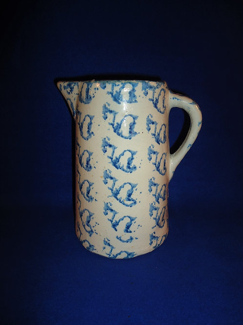 Super Blue and White Spongeware Stoneware Pitcher with Pattern #5097
