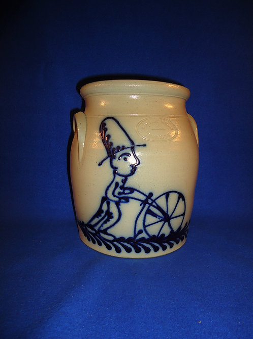 Beaumont Pottery, York, Maine Stoneware Jar with Amish Man Cultivating #5057
