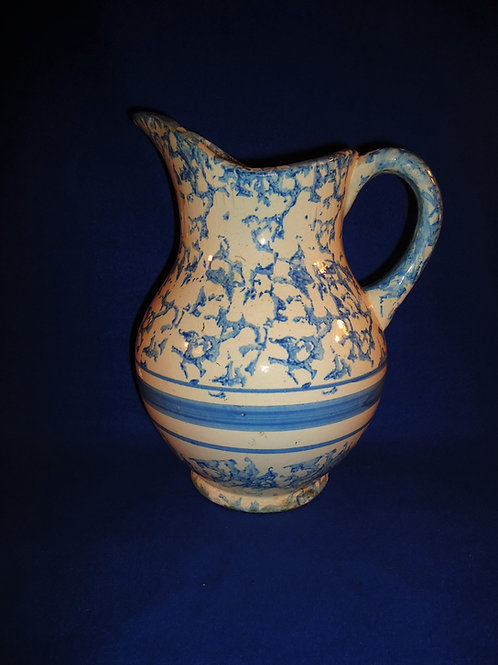 Blue and White Spongeware Stoneware Wash Pitcher with Stripes #5095
