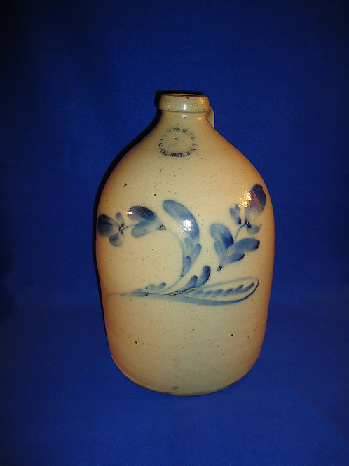 N. Clark, Rochester, New York Stoneware 3 Gallon Jug with Large Floral