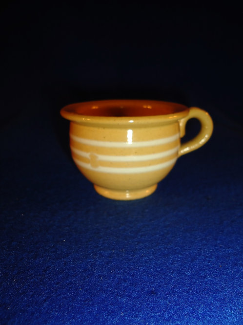 Yellow Ware Child's Toy Chamber Pot with White Mocha Stripes