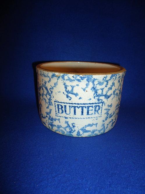 Blue and White Spongeware Stoneware Butter Crock, Rectangular Label #5450
