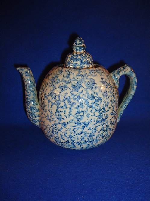 Blue and White Spongeware Stoneware Teapot with Lid