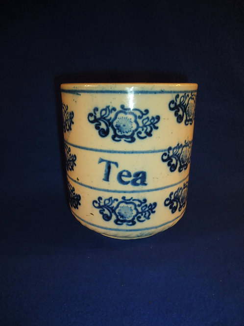 Blue and White Stoneware Tea Canister in the Snowflake Pattern #5421