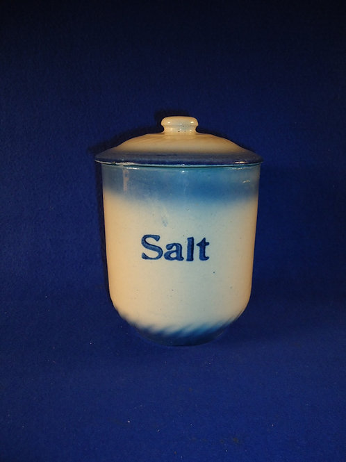 Blue and White Stoneware Diffused Blue Salt Canister by A. E. Hull
