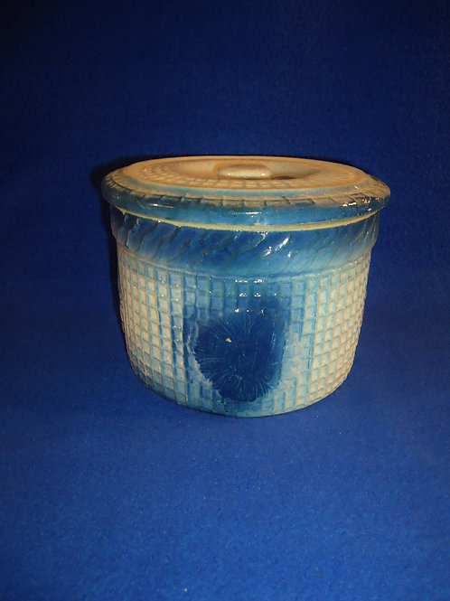 Blue and White Stoneware Butter Crock, Daisy and Waffle Pattern