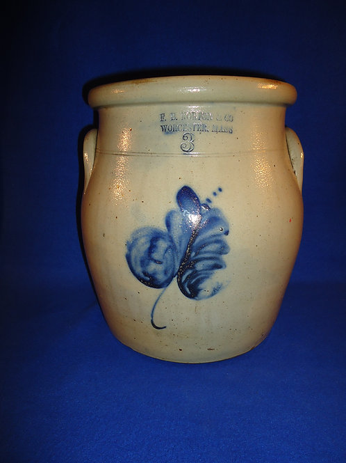 F. B. Norton, Worcester, MA 3 Gallon Stoneware Cream Pot with Swirl Floral #5668