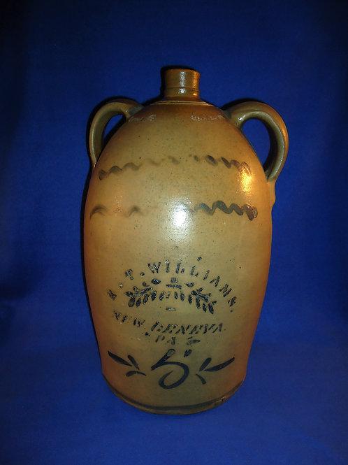 R. T. Williams, New Geneva, Pennsylvania Stoneware 5 Gallon Double-Handled Jug