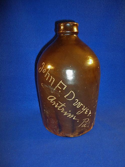 Rare John Dwyer, Hotel Proprietor, Antrim, Pennsylvania 1/2 Gallon Stoneware Jug