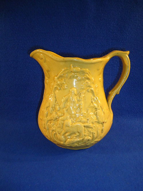 Mid to Late 19th Century Yellow Ware Pitcher with Hunting Scene